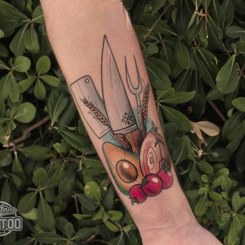 Neotraditional cooking ingredients and utensils tattoo