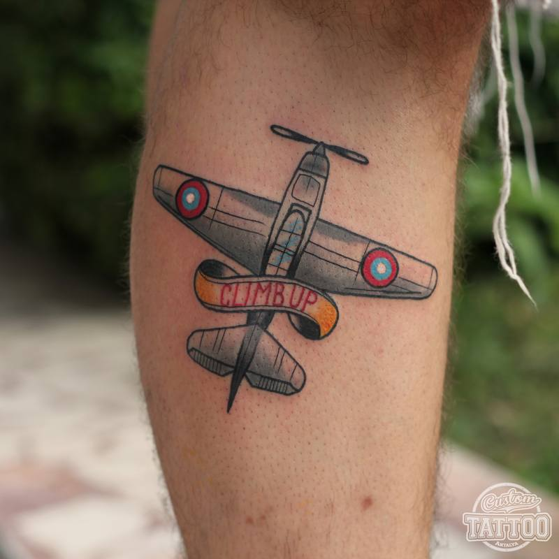 Neo traditional plane tattoo